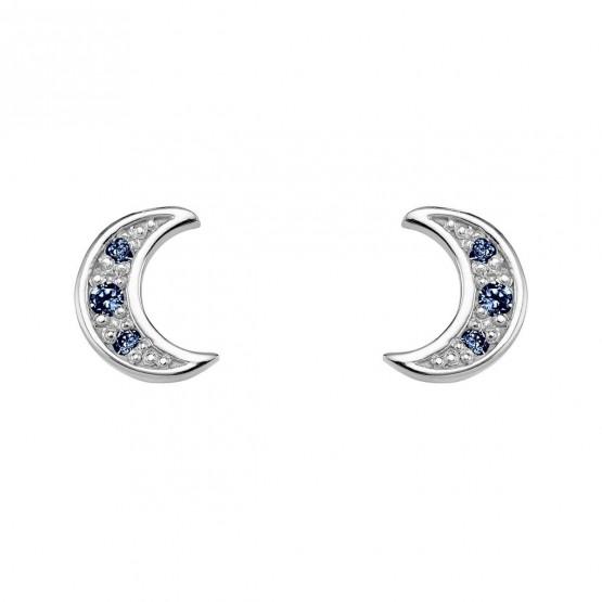 Pendientes oro blanco Luna con zafiros azules (76BPE004ZA)