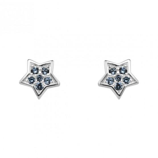 Pendientes oro blanco estrella con zafiros azules (76BPE005ZA)