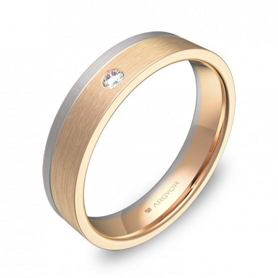 Alianza de boda de oro bicolor satinado con 1 diamante D0245S1BR