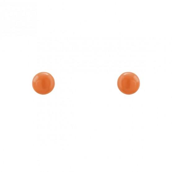 Pendientes de oro pequeños con bola coral (03260913)