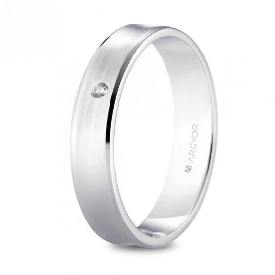 Alianza de platino de 4.5mm con diamante (05901145D)