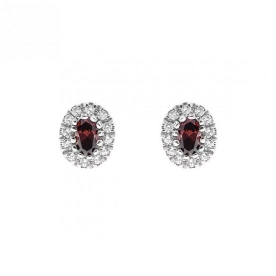 Pendientes oro blanco con rubí y halo de diamantes (0516004R)
