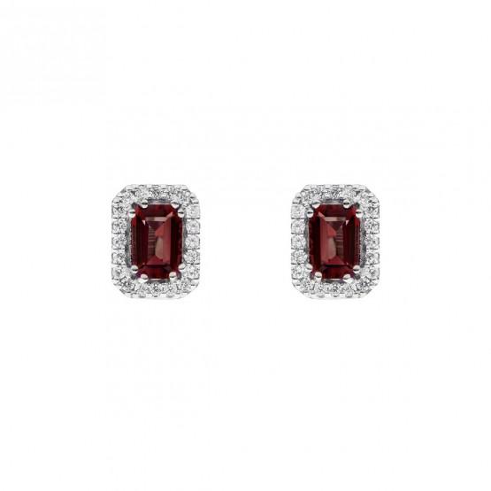 Pendientes oro blanco con rubí rectangular y halo de diamantes (0516006R)