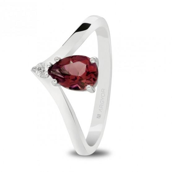 6d357395 Anillo oro blanco con lágrima de rubí y diamante (0517001R)