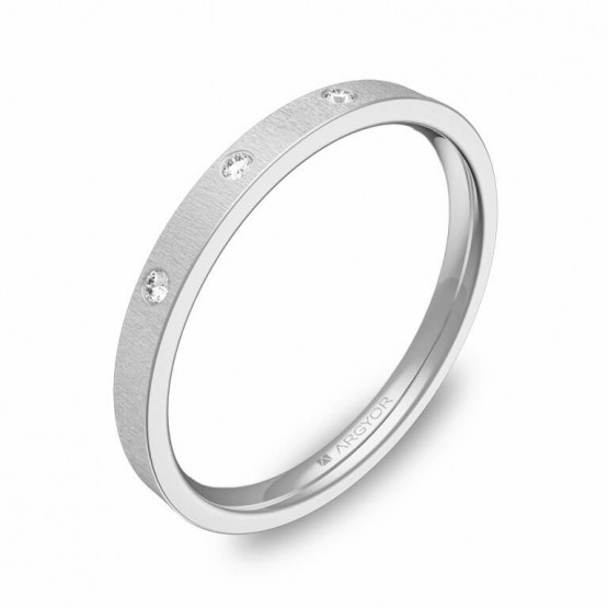 Alianza de boda en oro blanco rayado con diamantes B0120T3BB