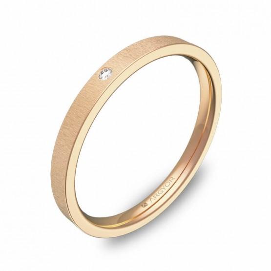 Alianza de boda plana gruesa oro rosa rayado con diamante B0120T1BR