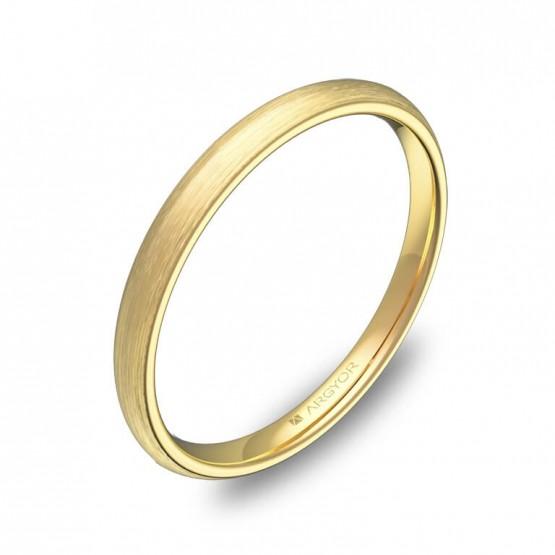 Alianza de media caña gruesa 2mm oro amarillo satinado A0120S00A