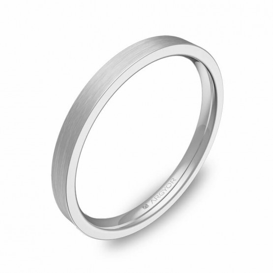 Alianza de boda plana gruesa 2mm en oro blanco satinado B0120S00B