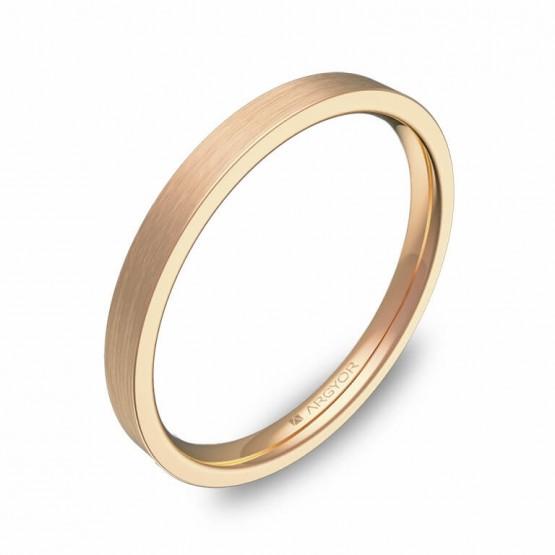 Alianza de boda plana gruesa 2mm en oro rosa satinado B0120S00R