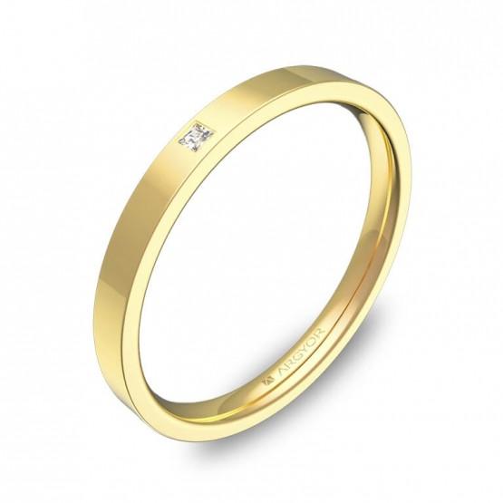 Alianza de boda 2mm en oro amarillo pulido con diamante B0120P1PA