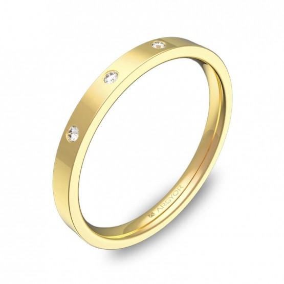 Alianza de boda de oro pulido 2mm con diamantes B0120P3BA