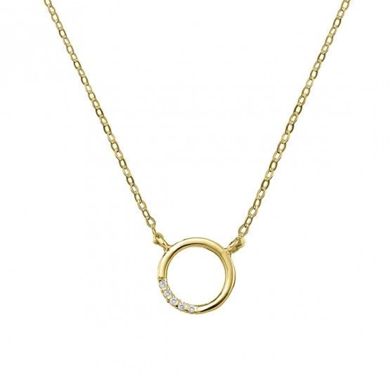 Gargantilla de oro 18k con 5 brillantes en forma de círculo (76AGA013)