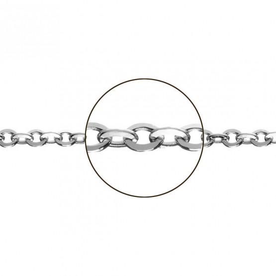 Cadena de oro blanco 18k modelo rolo plana (066282040)