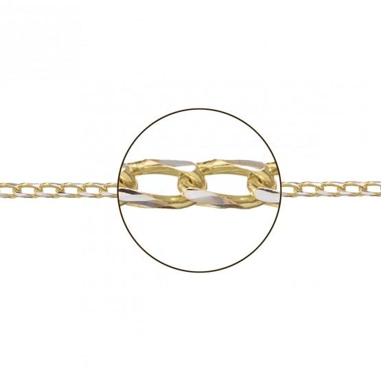 Cadena de oro bicolor blanco y amarillo 18k modelo espiga (066255035)