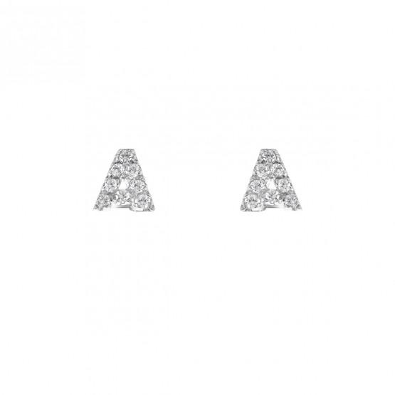 Pendientes letra oro con diamantes (0516103)-A