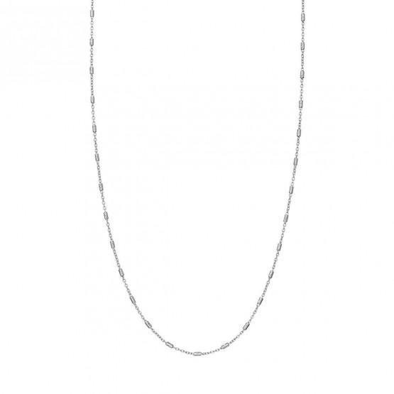 Collar oro blanco con tubitos (0410104B)