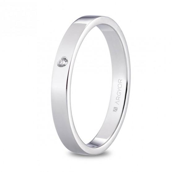 Alianza de platino plana y diamante brillante 3mm (05930130D)