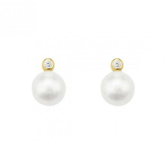 Pendientes de oro 18k perlas y brillantes (75A0004Z)