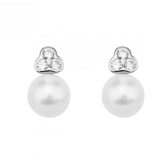 Pendientes de novia oro blanco con 6 diamantes 0.19ct (75B0007)