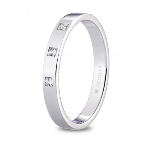 Alianza de platino plana y diamantes princesa 3mm (05930130P3)