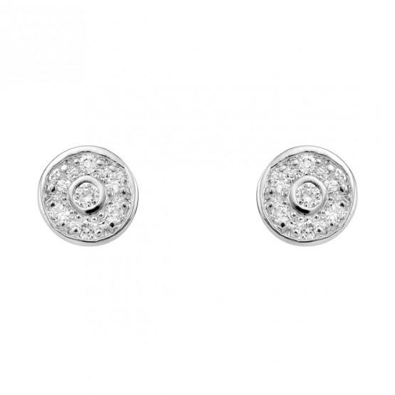 Pendientes de diamantes en roseta y oro blanco (76BPE003)
