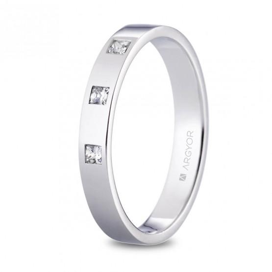 Alianza de platino plana y diamantes princesa 3.5mm (05930135P3)