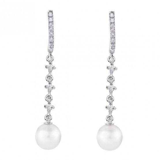Pendientes para novia en oro blanco de18k y perlas (79B0503TD1) 1