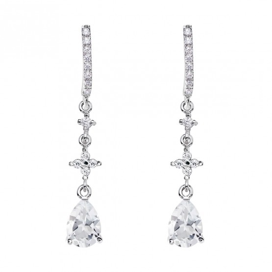 Pendientes de novia plata con topacios entrepieza cruz (79B0504TA1) 1