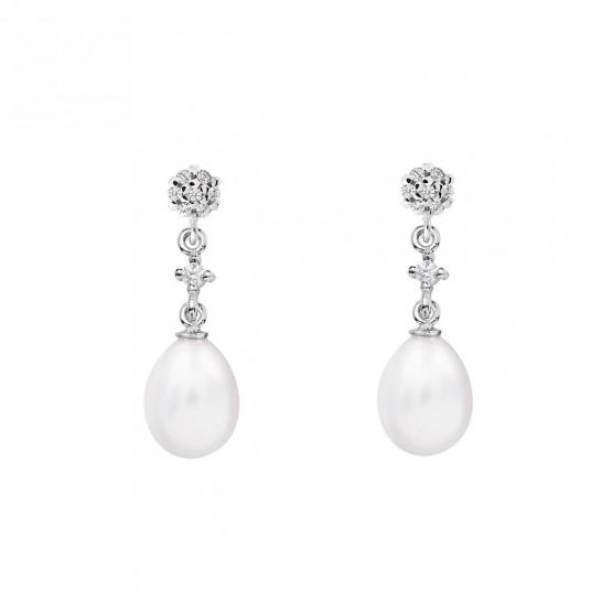 Pendientes de novia en oro blanco de18k con perlas (79B0601TE1) 1