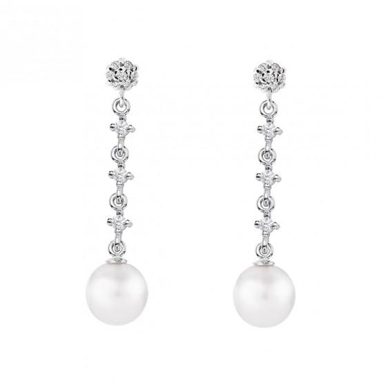 Pendientes para novia en oro blanco de18k y perlas (79B0603TD1) 1