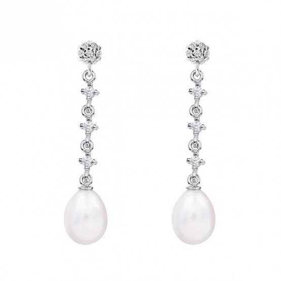 Pendientes para novia en oro blanco de18k y perlas (79B0603TE1) 1