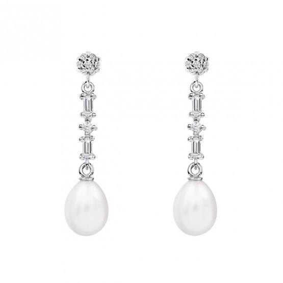 Pendientes de novia plata con topacio y perlas (79B0606TE1) 1